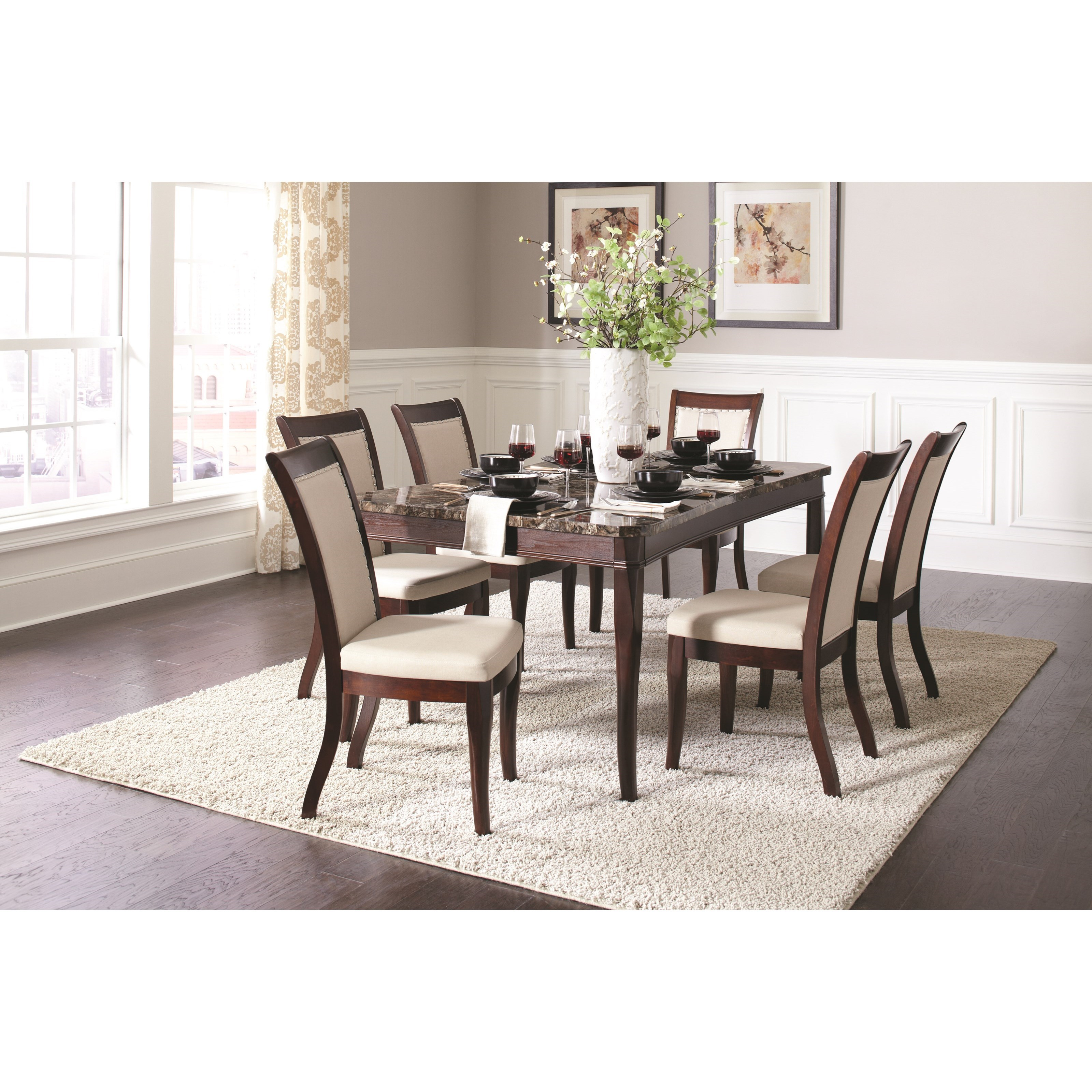 Cornett Rectangular Dining Table With Faux Stone Top Quality - Stone top rectangular dining table