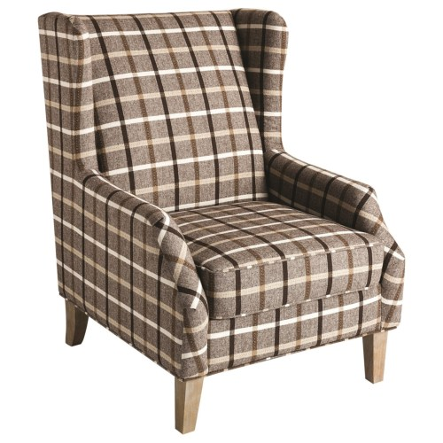 Bon 904052 Upholstered Wingback Chair With Plaid Design