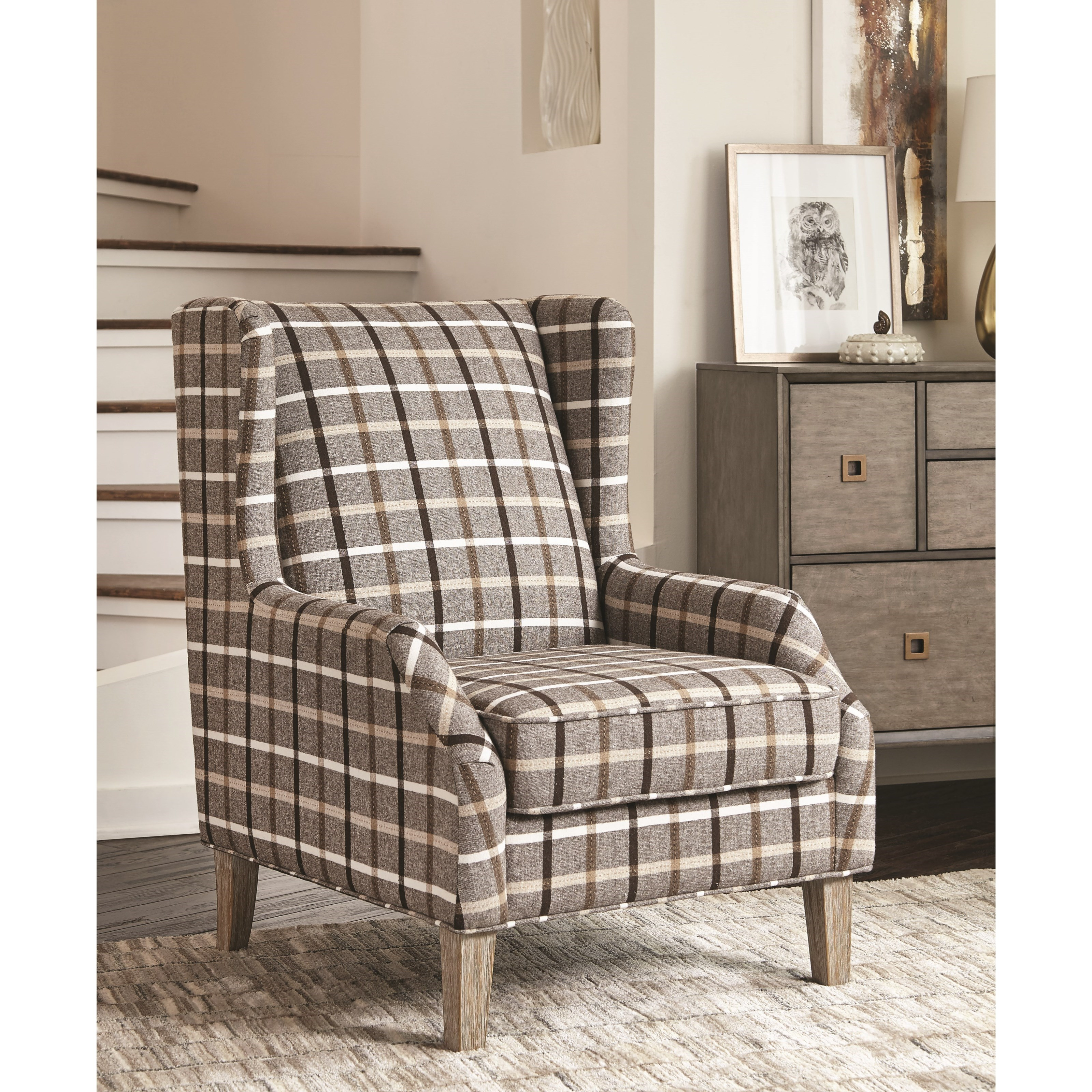 Superbe 904052 Upholstered Wingback Chair With Plaid Design