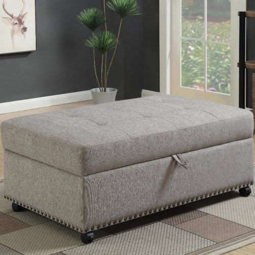 Remarkable Ottomans Grey Sleeper Ottoman With Nailhead Trim Ncnpc Chair Design For Home Ncnpcorg