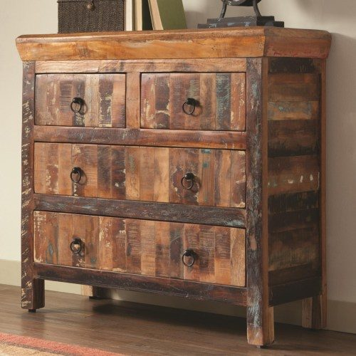 Accent Cabinets 4 Drawer Reclaimed Wood Cabinet