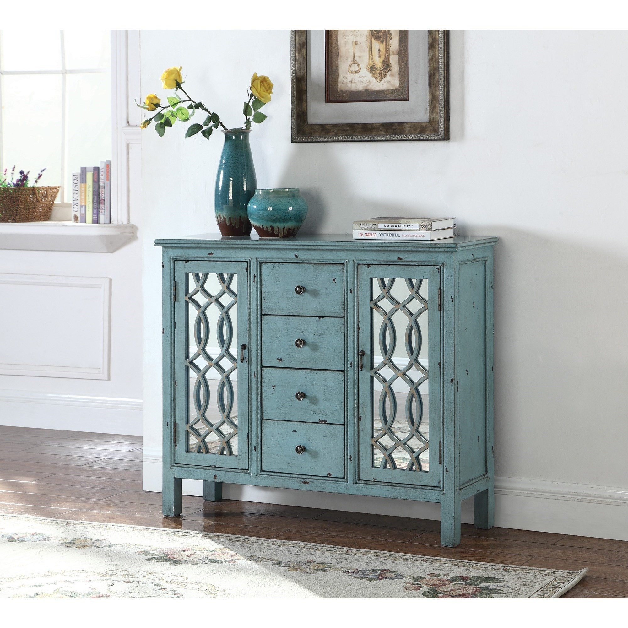 Accent Cabinets Antique Blue Accent Table With Inlay Door