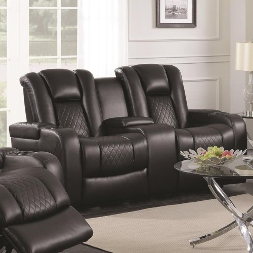 Delangelo Casual Power Reclining Love Seat With Cup