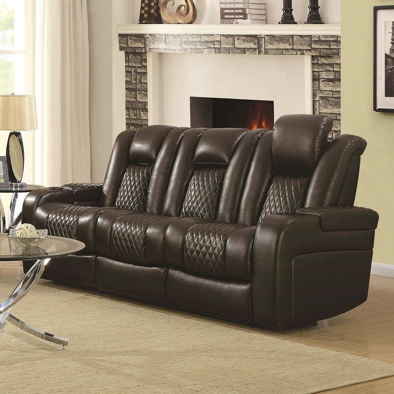 Delangelo Casual Power Reclining Sofa With Cup Holders